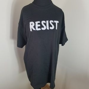 Black Graphic Tee With The Word Resist On Front